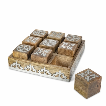 GG Collection Wood Metal Tic Tac Toe