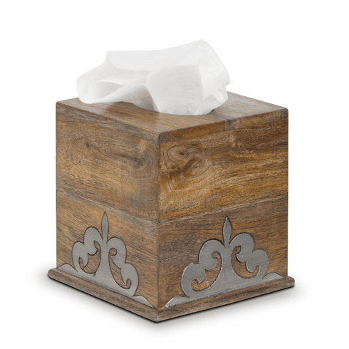 GG Collection Wood & Metal Tissue Box