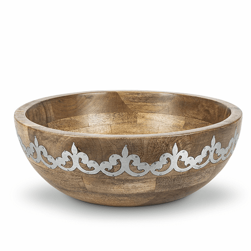 GG Collection Wood Metal Wide Serving Bowl