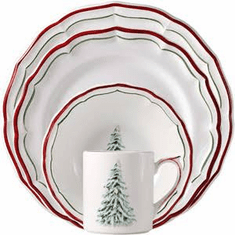 Gien Filet Noel 4 Piece Dinnerware Placesetting