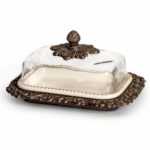 Gracious Goods Cream Ceramic Butter Dish with Glass Dome & Metal Tray