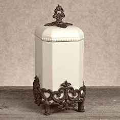 Gracious Goods Cream Large Provencial Canister with Metal Base