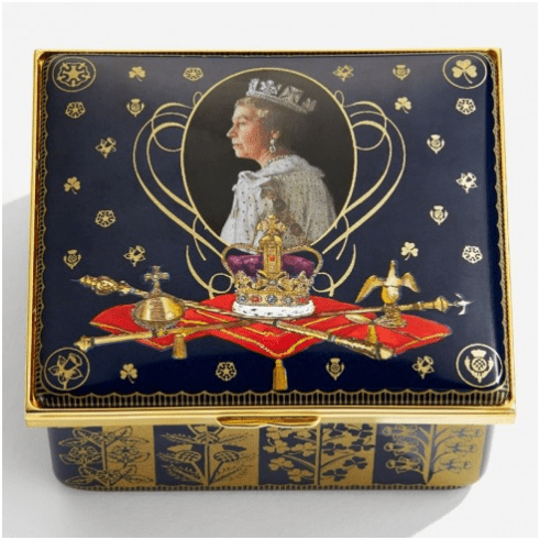 Halcyon Days 65th Anniversary of the Coronation Musical Enamel Box LE 65 plays 'Zadok The Priest'. George Frideric Handel