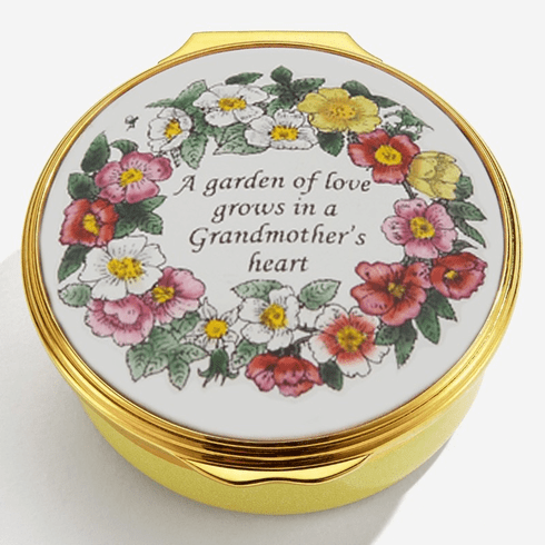 Halcyon Days A Garden of Love Grows in a Grandmother's Heart Enamel Box