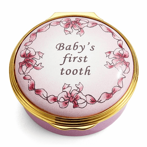 Halcyon Days Baby's First Tooth Girl Enamel Box