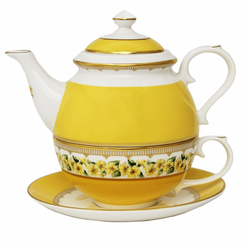 Halcyon Days Castle Gardens of Mey Shell Garden Floral Primula Yellow Tea for One