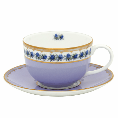 Halcyon Days Castle Gardens of Mey Shell Garden Floral Thistle Lilac Teacup & Saucer