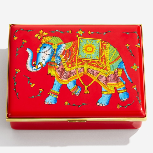 Halcyon Days Ceremonial Indian Elephant Red Leather Lined Enamel Box