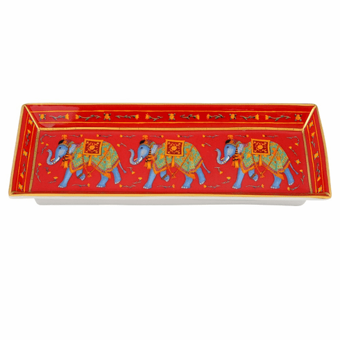 Halcyon Days Ceremonial Indian Elephant Red Rectangular Tray