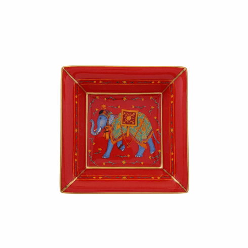 Halcyon Days Ceremonial Indian Elephant Red Square Tray