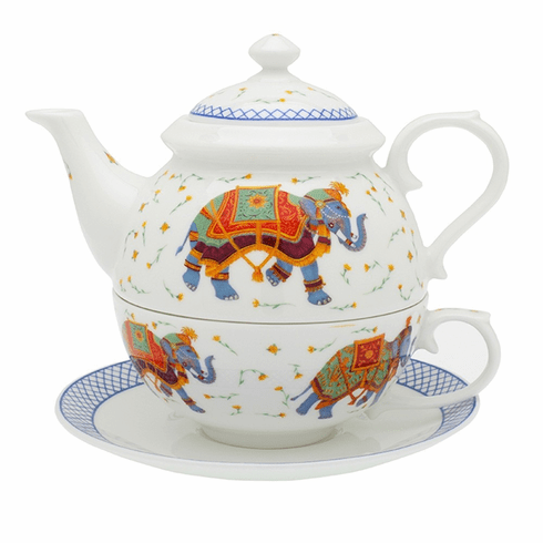 Halcyon Days Ceremonial Indian Elephant White Tea for One