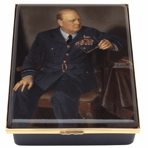 Halcyon Days Churchill Portrait by Chandor Leather Lined Enamel Box LE100