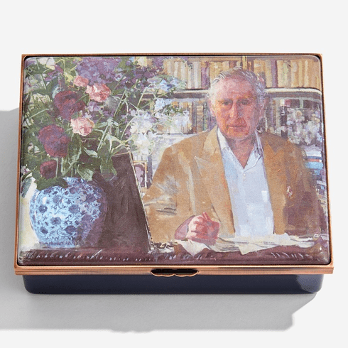Halcyon Days HRH The Prince of Wales by Eileen Hogan Enamel Box