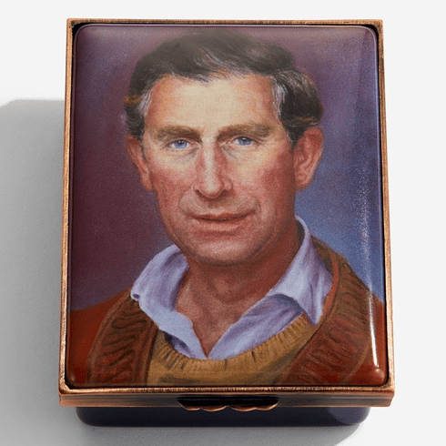 Halcyon Days HRH The Prince of Wales by Susan Crawford Enamel Box