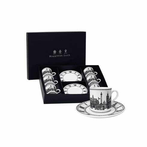 Halcyon Days London Icons Coffee Cup & Saucer Set of 6