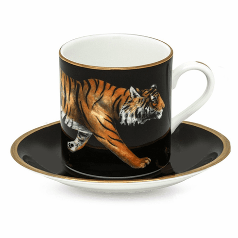 Halcyon Days Magnificent Wildlife Tiger Coffee Cup & Saucer
