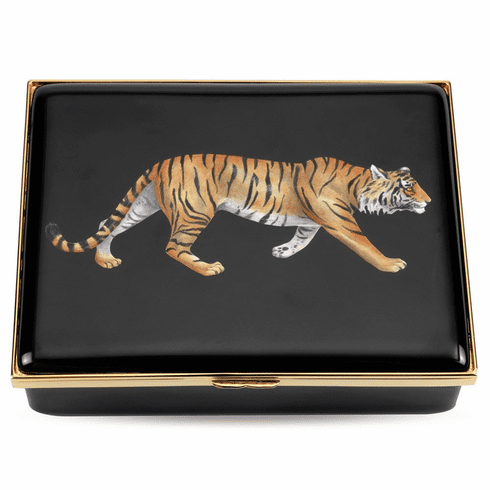 Halcyon Days Magnificent Wildlife Tiger Leather Lined Enamel Box
