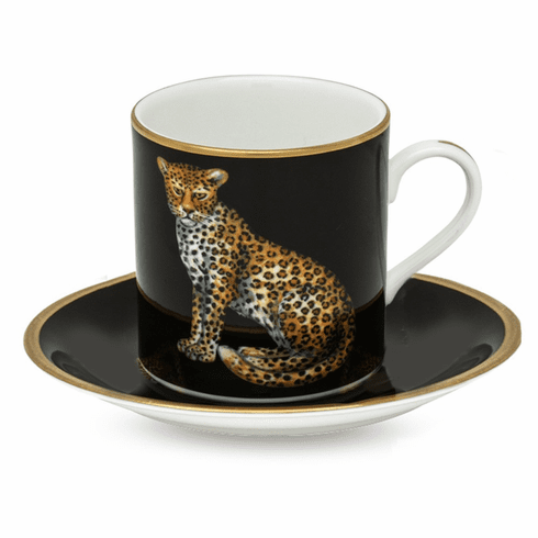 Halcyon Days Magnificent Wildlife Twin Leopards Coffee Cup & Saucer