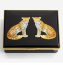 Halcyon Days Magnificent Wildlife Twin Leopards Leather Lined Enamel Box