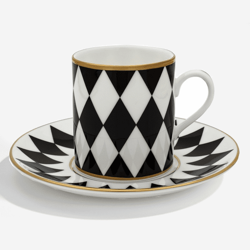 Halcyon Days Parterre Black Coffee Cup & Saucer
