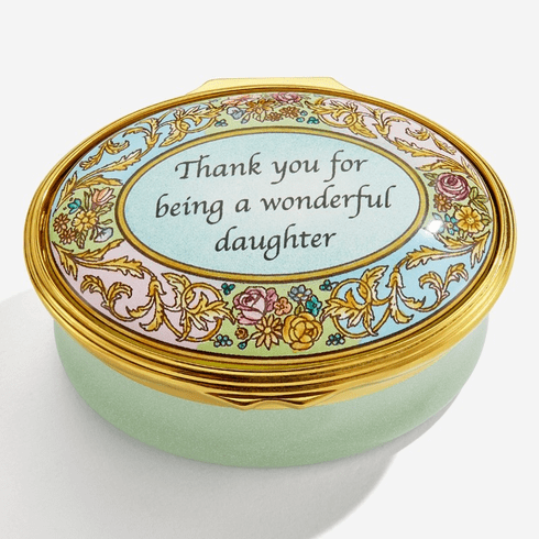 Halcyon Days Thank you for being a Wonderful Daughter Enamel Box