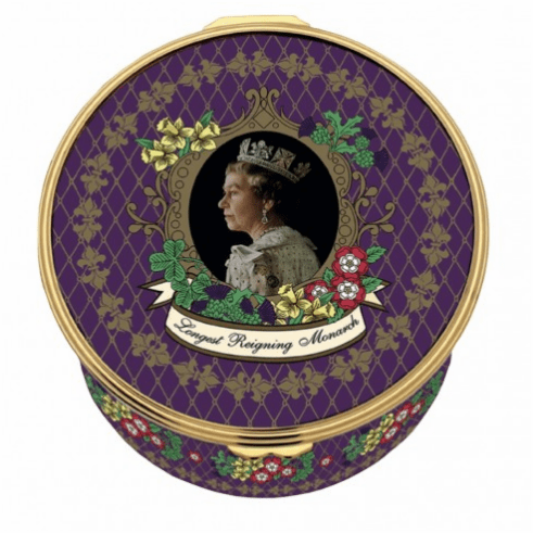 Halcyon Days The Longest Reigning Monarch Musical Enamel Box LE75 plays 'Hallelujah'