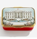 Halcyon Days The White House in the Snow Enamel Box