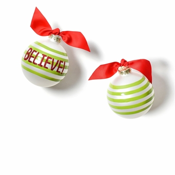 Happy Everything Believe 2 Glass Ornament
