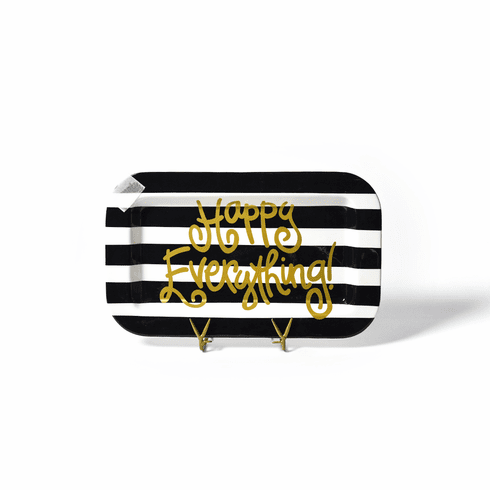 Happy Everything Black Stripe Mini Rectangle Platter with Champagne Attachment