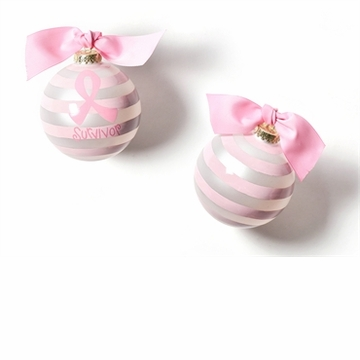 Happy Everything Breast Cancer Survivor 100MM Glass Ornament