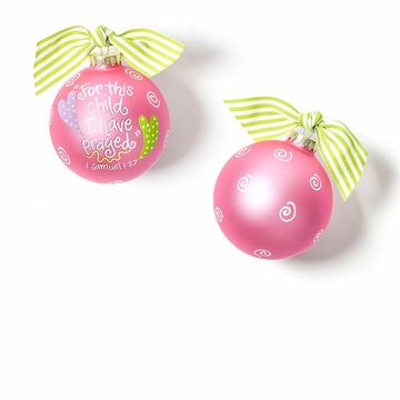 Happy Everything For This Child Pink Glass Ornament
