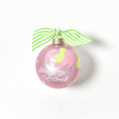 Happy Everything Glass Ornament - Elephant Pink