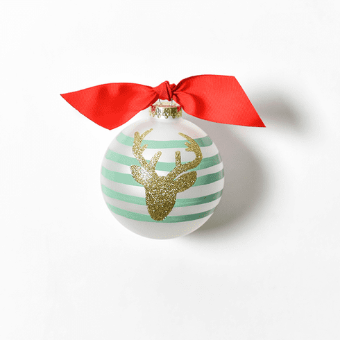 Happy Everything Glass Ornament - Glitter Deer