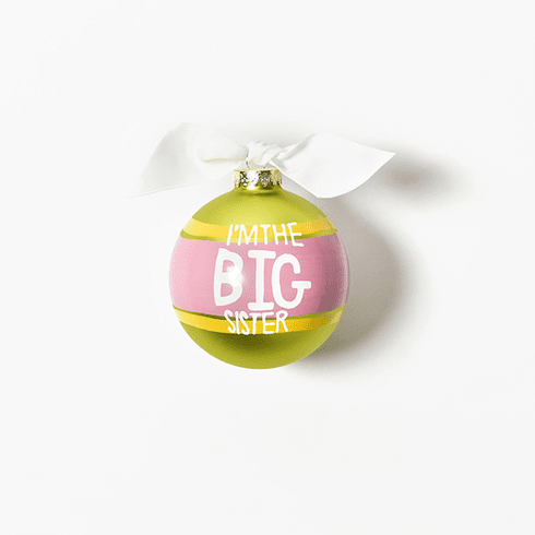 Happy Everything Glass Ornament - I'm The Big Sister Striped
