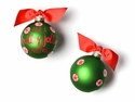 Happy Everything Holly Jolly Peppermint 100MM Glass Ornament