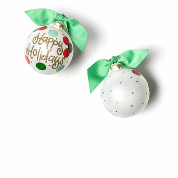 Happy Everything Layered Dot Happy Holidays 100MM Glass Ornament