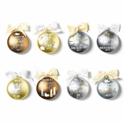 Happy Everything Luke 2:7-14 120MM Glass Ornaments - Set of 8