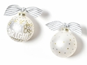 Happy Everything Merry & Bright Metallic Confetti Glass Ornament