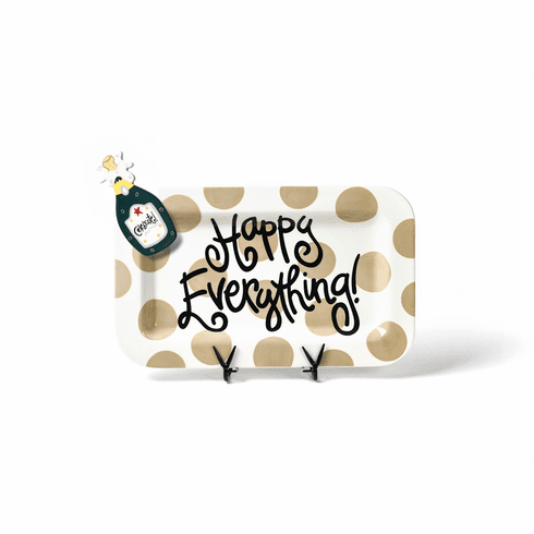 Happy Everything Neutral Dot Mini Rectangle Platter with Party Hat Attachment