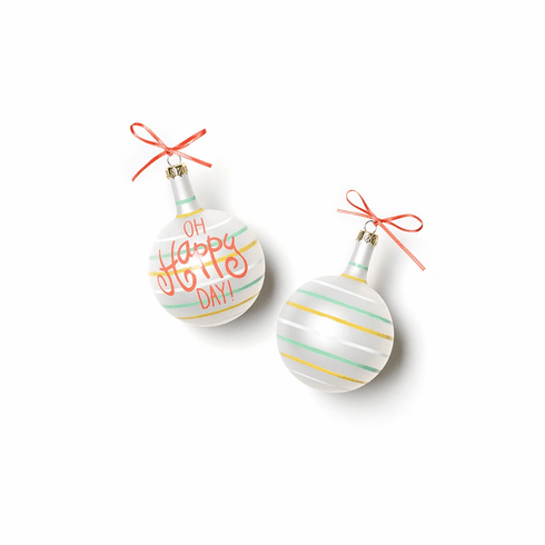 Happy Everything Oh Happy Day Small Stripes Vintage 80MM Glass Ornament