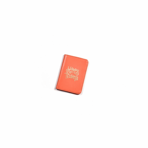 Happy Everything Persimmon Happy Travels Passport Cover