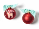 Happy Everything Reindeer Glass Ornament
