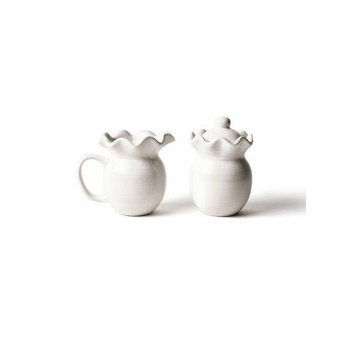 Happy Everything Signature Ruffle Cream And Sugar Set White