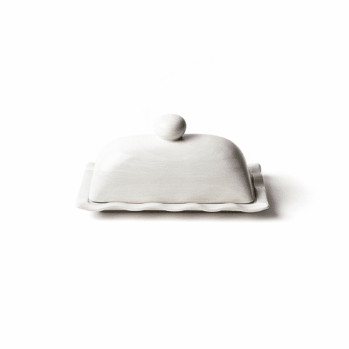 Happy Everything Signature Ruffle Domed Butter Dish White