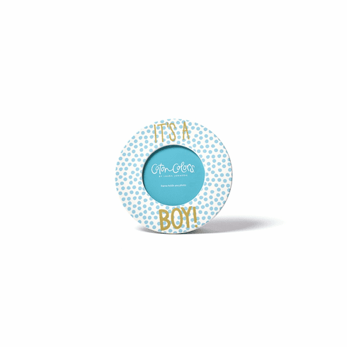 Happy Everything Small Dot 7 Round Frame Its a Boy