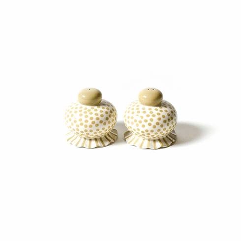 Happy Everything Small Dot Ruffle Salt and Pepper Set of 2 Cobble