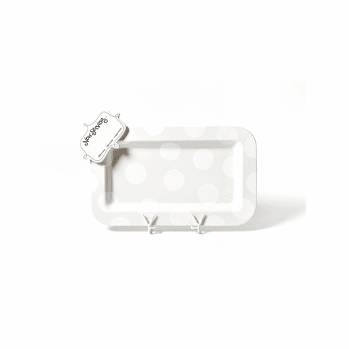 Happy Everything White Dot Entertaining Mini Platter With Now Serving Mini Attachment