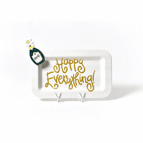 Happy Everything White Stripe Mini Rectangle Platter With Champagne Attachment
