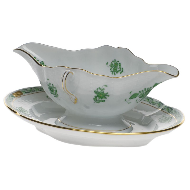 Herend Chinese Bouquet Green Gravy Boat With Fixed Stand 0 75