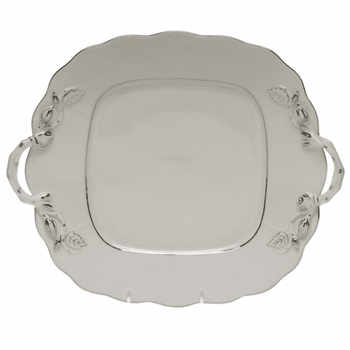 Herend Platinum Edge Square Cake Plate With Handles